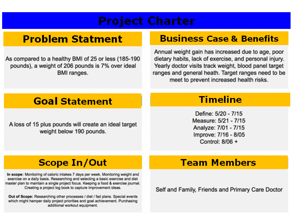 customer care charter template - using lean six sigma to lose weight